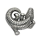 Sterling Silver Alligator Pin w/Curled Tail