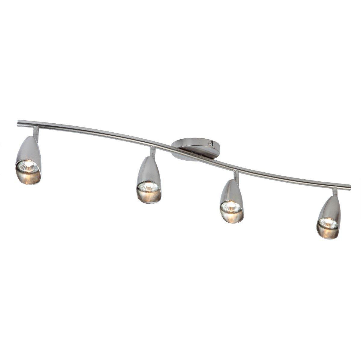 Globe Electric Grayson 4-Light S-Shape Track Lighting Kit, Brushed Steel Finish, 4 Bulbs Included, 59066