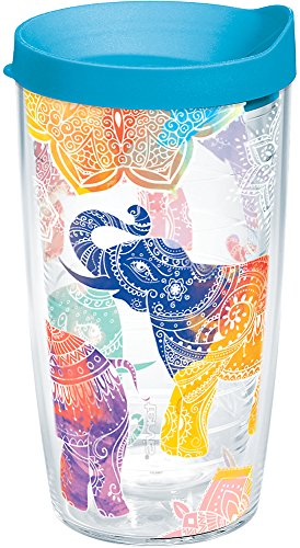 Tervis 1221835 Mehndi Elephants Tumbler with Wrap and Turquoise Lid 16oz, Clear by Tervis