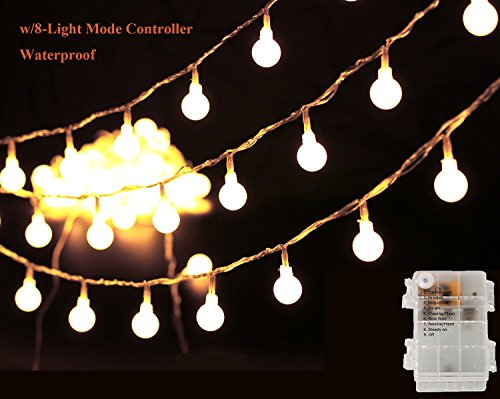 13' Pull String (Globe String Lights, 13Ft 40LED Starry Fairy Light for Garden, Wedding, Xmas Party, Battery Operated with 8 Modes Warm White)
