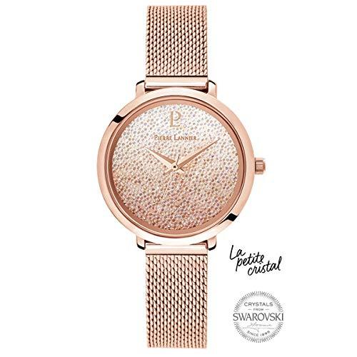 Pierre Lannier La Petite Swarovski Crystal Pink Milanese Rose Gold Ladies Watch