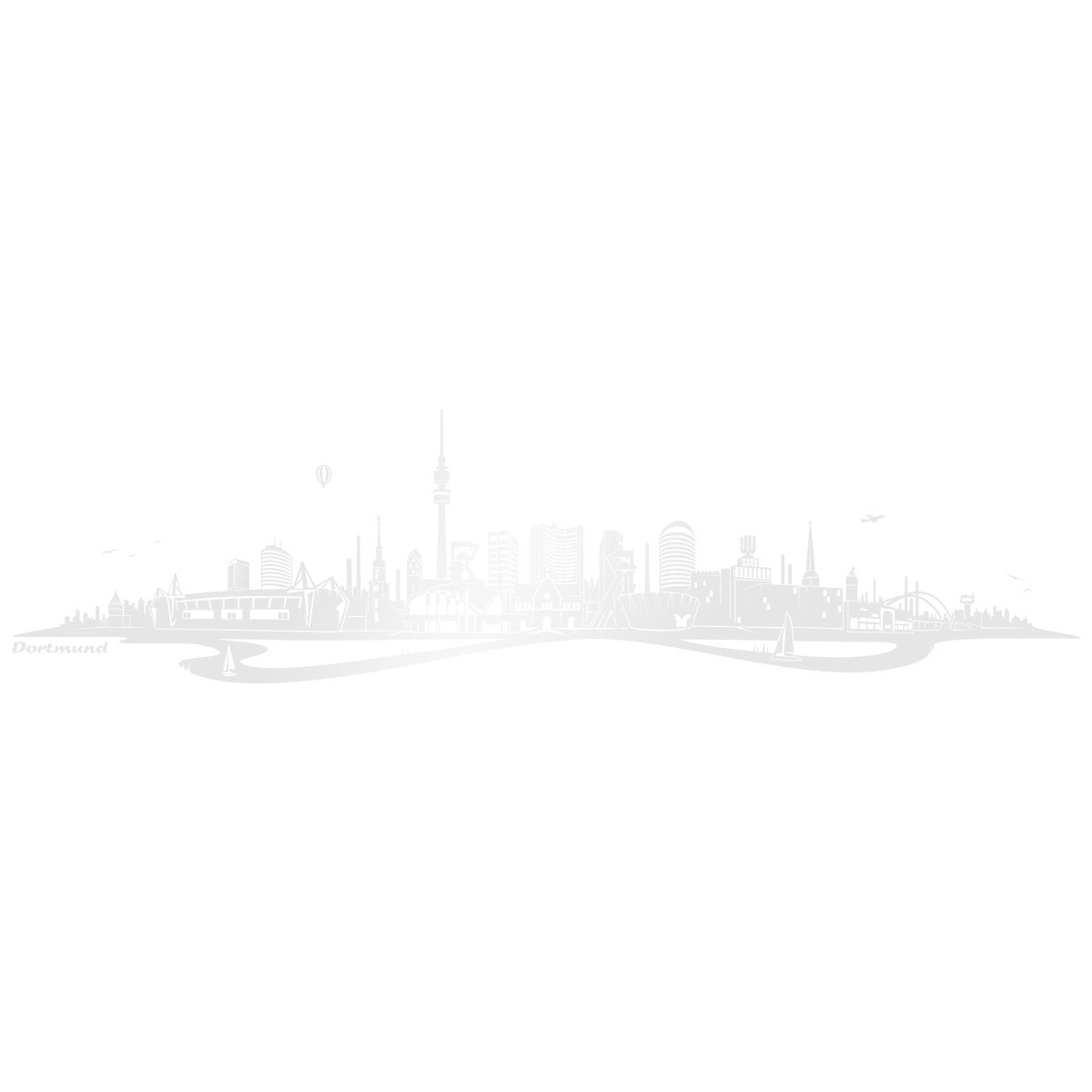 WANDKINGS Wandtattoo Wandtattoo Wandtattoo Skyline Dortmund mit Fluss 140 x 36 cm - Schwarz - 35 Farben zur Wahl B018E9WRW2 Wandtattoos & Wandbilder a912ac