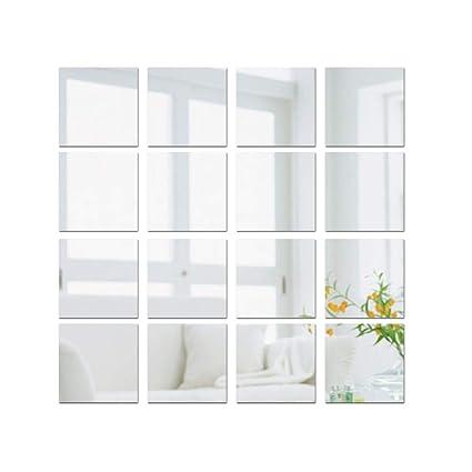 Decorare Armadio A Muro.15 15cm 16pz Adesivo Specchio Quadrato Decorazione Per Parete Muro Casa Armadio