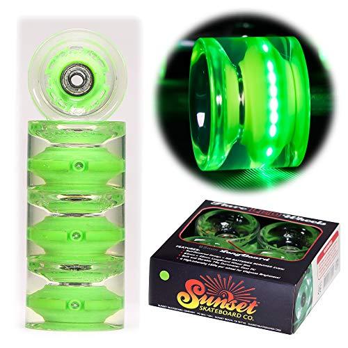 Sunset Skateboard Co. Green 65mm Longboard LED Light-Up Wheels Set