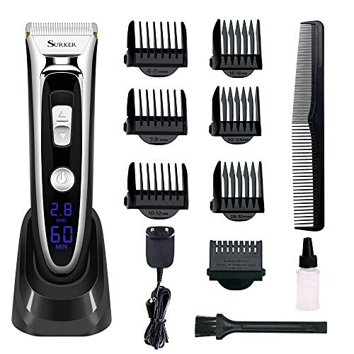 Professional Hair Clippers Set for Men, Aiskki Cordless Hair Trimmer, Electric Hair Cutting Kit with Gear Adjustment, Security Lock and LED Display