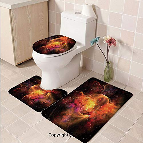3pcs/Set Space Decorations Style Soft Comfort Flannel Toilet Mat,Outer Space Nebula Forming Star Cluster and Galaxy Cosmos Astronomy Universe,Plush Bathroom Decor Mat with Non Slip Backing,Black Oran]()