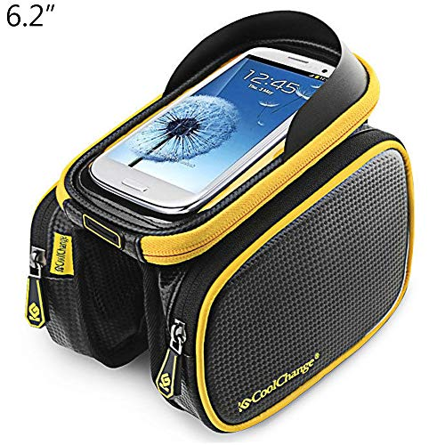 Touch Screen Phone Holder Bicycle Bike Front Tube Frame Double Pouch Storage Bag - 6.2 Inch 2 ()