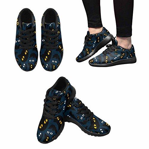 Interestprint Mujeres Jogging Running Sneaker Ligero Go Easy Walking Casual Comodidad Running Zapatos Halloween Gatos Y Murciélagos En La Noche Multi 1