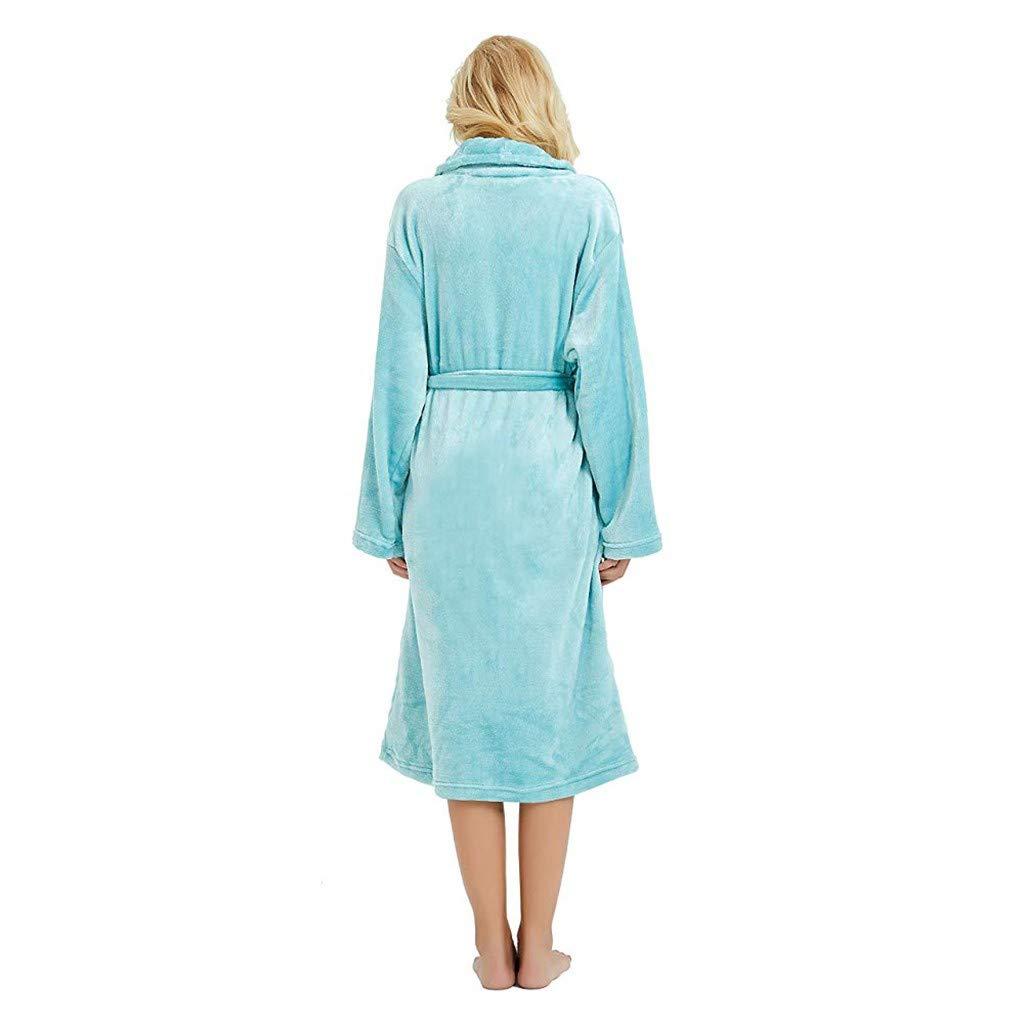 HTDBKDBK Robe and Slippers Set Women Ladies Winter Lengthened Plush Shawl Bathrobe Sleepweer Long Sleeved Coat