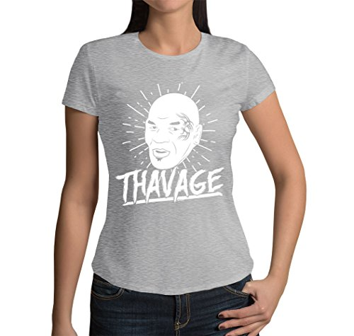 Junior's Thavage T-shirt (Light Gray, Large)