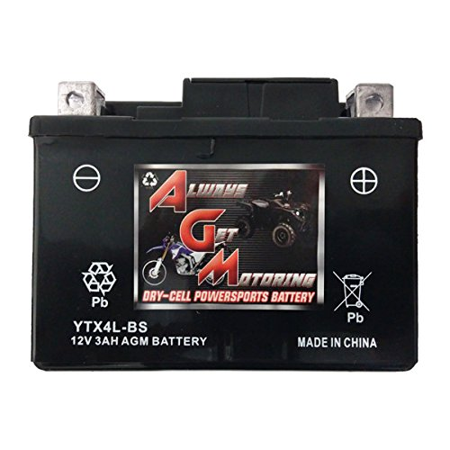 By Canadian Seller AGM Brand Or Similar Replacement For Bombardier Can-Am 50 DS50 Quest 2002-2006 YTX4L-BS Sealed Maintenace Free Battery High Performance 12V SMF OEM Powersport Motorcycle ATV Scooter Snowmobile KMG
