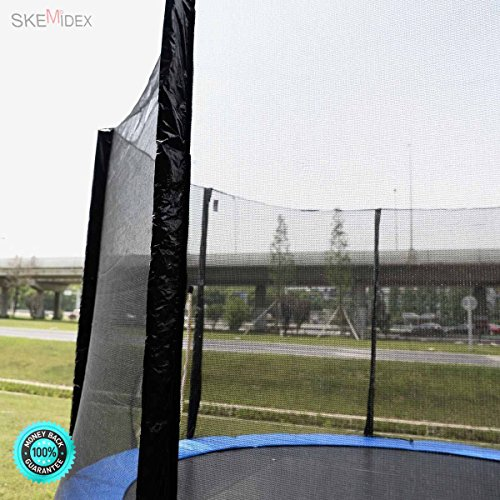 SKEMiDEX---12FT Round Trampoline Enclosure Safety Net Fence Replacement W/Sleeves 8 Poles This Replacement Netting For Is Perfect If Your Trampoline Is Looking Worn Or Has Been Damaged. by SKEMiDEX