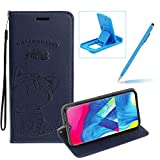 Strap Leather Case for Galaxy M10,Dark Blue Wallet Flip Case for Galaxy M10,Herzzer Elegant Classic Solid Color Magnetic Cute Fish Cat Printed Stand PU Leather Case with Soft TPU