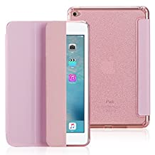 FAS1 iPad Air 2 Case, Slim Trifold Stand Cover, Front PU Leather Cover With Clear Bling Soft Silicone Back Case, Magnetic Auto Wake & Sleep Smart Case Cover For iPad Air 2 (Pink)