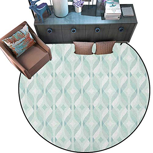 Seafoam Non-Slip Round Rugs Tangled Lines with Rhombus Pattern Symmetrical Geometric Composition Living Dinning Room and Bedroom Rugs (75