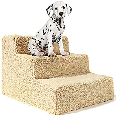 Animals Favorite Pet Stairs, 3 Steps Ramp Ladder for Dogs, Portable, Supports Up to 20 lbs.