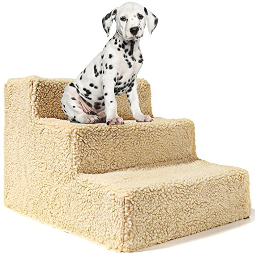 Animals Favorite Pet Bed Stairs, 3 Steps Ladder for Small Dogs and Cats, Portable, Supports up to 20 lbs (Pet Steps)