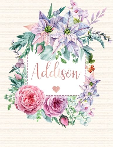 Addison: Personalized Floral Journal with Pink Gold Lettering, Name/Initials 8.5x11, Lined Journal Notebook with 100 Inspirational Quotes (Journals for Women to Write In) Addison Addison Collection