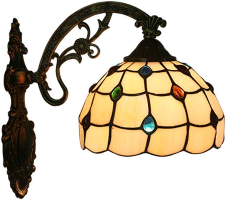 W&HH Lámpara de Pared de Estilo Tiffany Piedras Preciosas mediterráneas Luces de Pared de Vidrio Manchado Simple Decoración de cabecera de Dormitorio Lámpara de Pared Espejo Faro E27