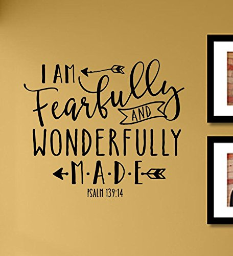 Cheap  I am fearfully and wonderfully made Psalm 139:14 Vinyl Wall Art Decal..