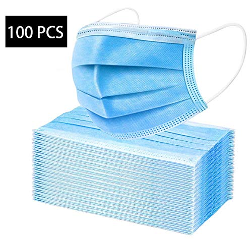 100 PCS 3-Ply Universal Face msks Dustproof Mouth Protector Prevent Sneeze Droplets (100, Blue)