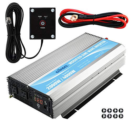 GIANDEL 2000W Power Inverter 12V DC to 110V 120V AC with Remote Control and LED Display Dual AC Outlets & USB Port for RV Truck Boat ()