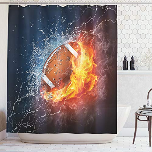 Ambesonne Sports Decor Collection, Football on Fire and Water Flame Splashing Thunder Lightning Abstract Print, Polyester Fabric Bathroom Shower Curtain Set with Hooks, Navy Orange Peru -