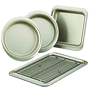 Anolon Allure Nonstick Bakeware Set includes Nonstick Cookie Sheet with Rack, Baking Pan and Cake Pans – 5 Piece, Onyx…