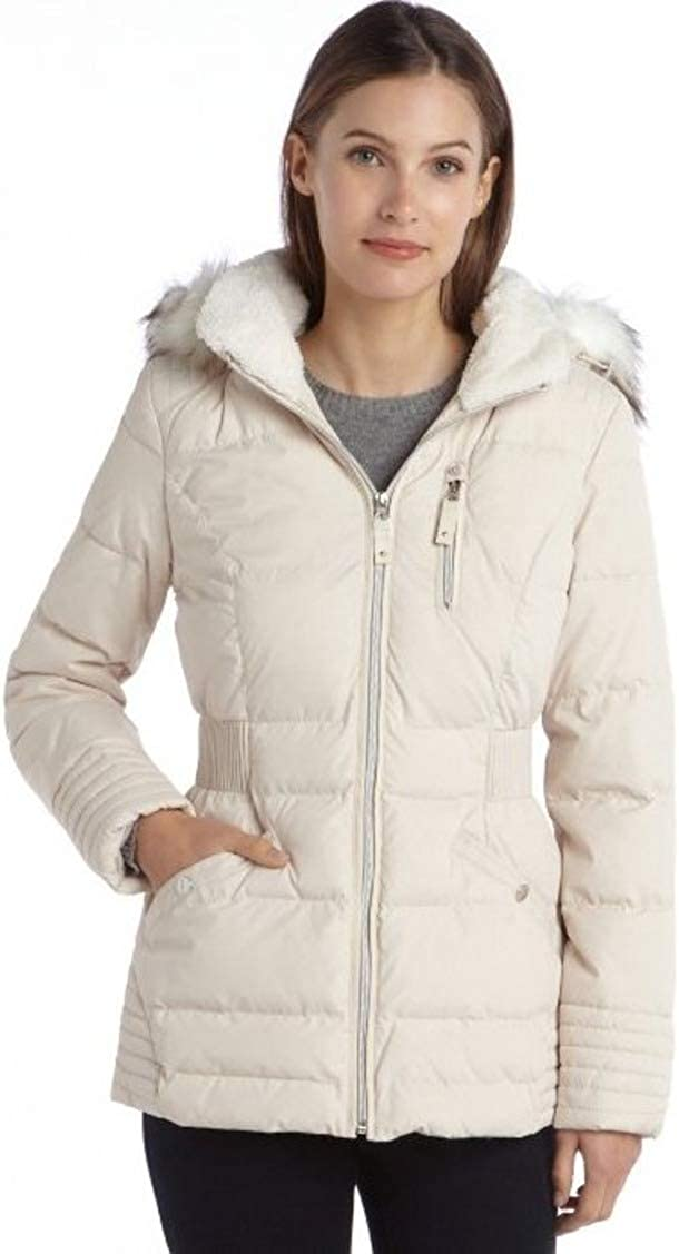 Laundry by Design Pearl Quilted Faux Fur Hooded Zip Front Puffer Coat,preal/Beige, Large