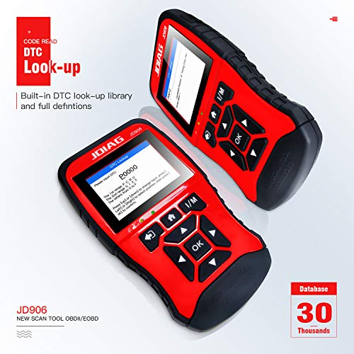 JDIAG JD906 Enhanced Mode 6 Mode 8 OBD2 Scanner Engine Fault Code Reader  for Smog Check with Core Analysis (Red)