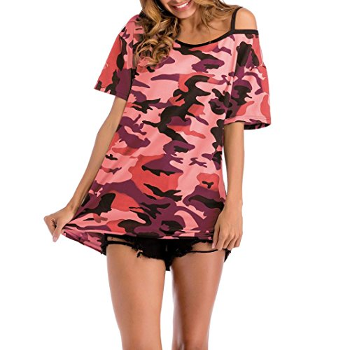 Camouflage Off Shoulder Blouse,Clearance! AgrinTol Women Casual Camouflage Printing T-Shirt Tops (M, (Free Dog Jacket Pattern)