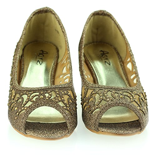 AARZ LONDON Women Ladies Evening Wedding Party Peeptoe Diamante Low Wedge Heel Sandals Shoes Size Brown jOvau3zz