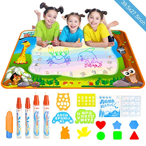 Doodle Template - Doodle Drawing Mat, YEEGO Water Doodle Mat Aqua Coloring Mat Extra Large Size 39.5X27.5 inch 5 Magic Water Pens and 8 Molds 4 Template No Mess Doodle Gift for Boy Girl(X-Large Size)
