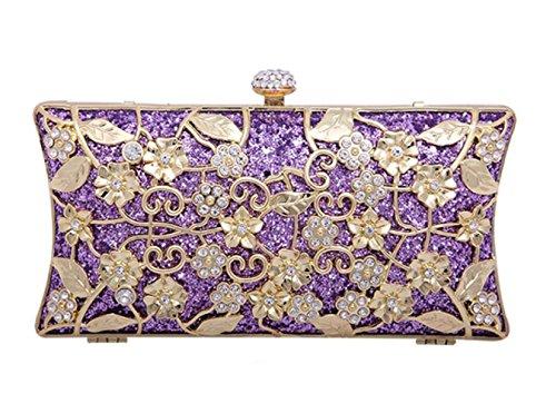 D'Embrayage Fleurs Main WenL Sacs à Purple Sac Métal Cheongsam De Sacs De à Femmes Sac Sacs en Diamond Manuel Diamant Soirée Main gPqFP45rw