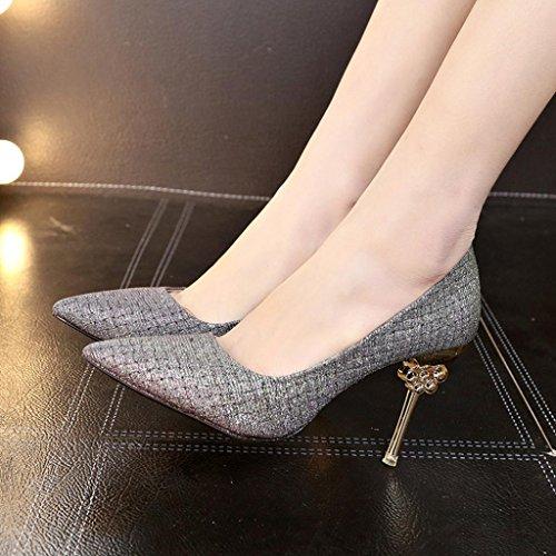 Voberry Pumps Mode Frauen Einfarbig Paillette Spitz Sandalen Hochhackige Schuhe