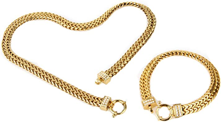 Amazon Com Copaul Jewelry Women S Stainless Steel Gold Chain Link Bracelet Necklace Set Jewelry