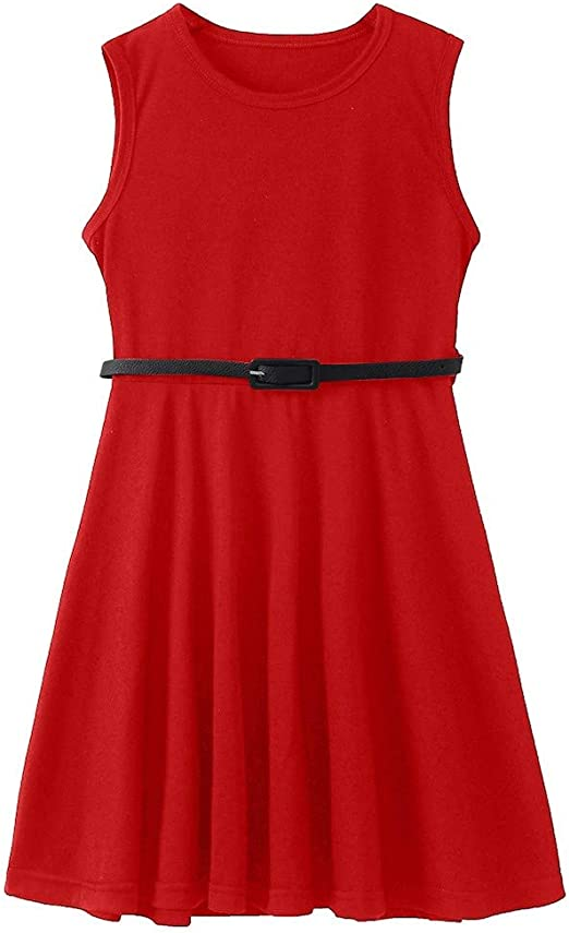 Girls Kids Solid Color Sleeveless Dress Party Fit Belted Summer Dress 6-12 Years
