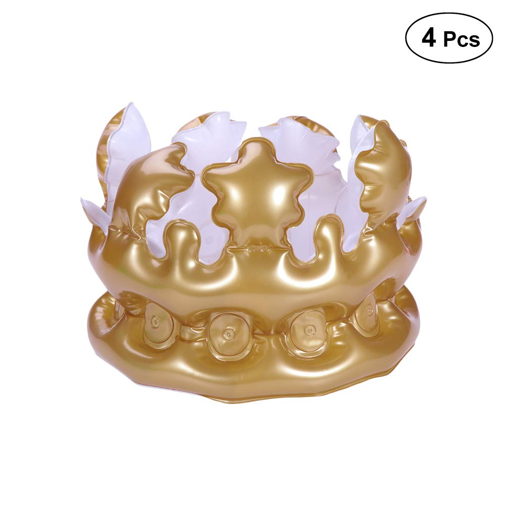 LUOEM 4Pcs 20cm Inflatable Crown Birthday Hats Queen or King Crowns Novelty Inflatable Blow up Toy Party Favors for Kids Gift (Golden)