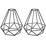 uxcell 2Pcs Metal Bulb Guard Lamp Pendant Light Fixture Holders Vintage Type Pyramid Shape Industrial Iron Wire Bird Cage