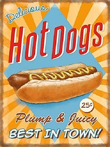Delicious Hot Dogs Metal Sign - Steel, 20 x 15cms by Original Metal Sign Co