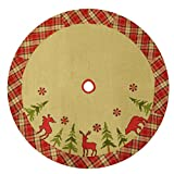 48'' Burlap Lodge Christmas Tree Skirt with Plaid Border, Applique & Embroidery, Moose/Deer/Bear