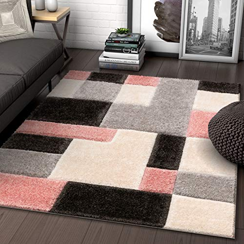 Well Woven Ella Pink Geometric Boxes Thick Soft Plush 3D Textured Shag Area Rug 5x7 (5'3