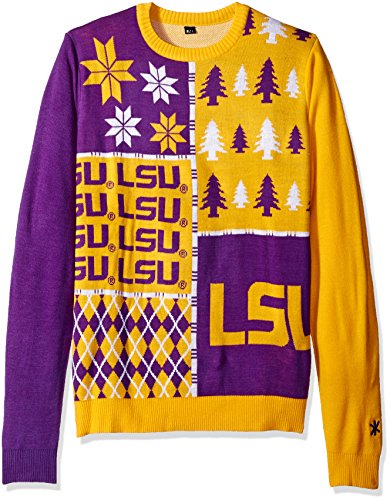 Klew NCAA Busy Block Sweater, Large, LSU Tigers (Lsu Ugly Christmas Sweater)