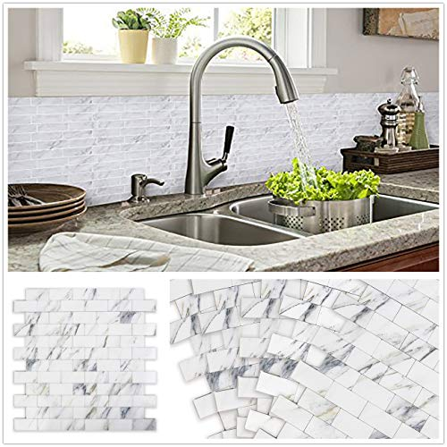 HomeyStyle Peel and Stick Tile Backsplash for Kitchen Wall Decor Meal Mosaic Tiles Sticker,Subway Marble Look Panel 12