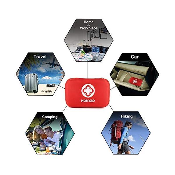 HONYAO Botiquín de Primeros Auxilios, Mini Kit de Supervivencia - Bolsa Médico de Emergencia Completo para Coche Barco… 8