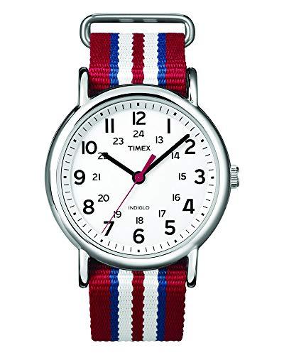 (Timex Analog Unisex Watch - Weekender Slip-Thru   Red White & Blue Strap)