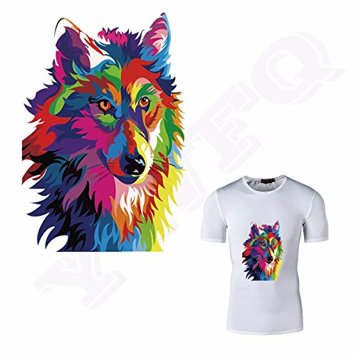 1 Piece 15.3*22cm Color Wolf Patches Heat Transfer Applique Iron On Patches For DIY Fashion Clothes Personalized (Vest Robin)