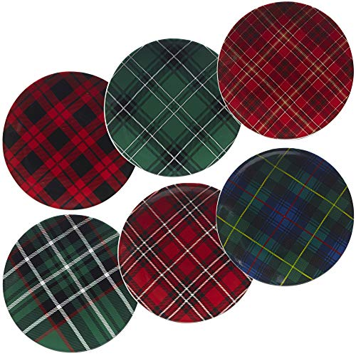 Red Accent Salad Plate - Certified International 22926SET6 Christmas Plaid 8.25