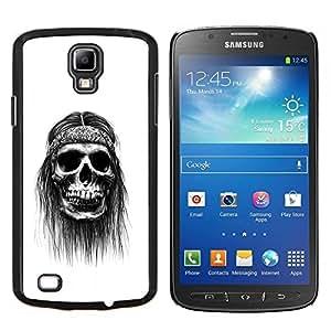 KLONGSHOP // Cubierta de piel con cierre a presión Shell trasero duro de goma Protección Caso - Hippie Paz del cráneo Negro fumadores - Samsung Galaxy S4 Active i9295 //