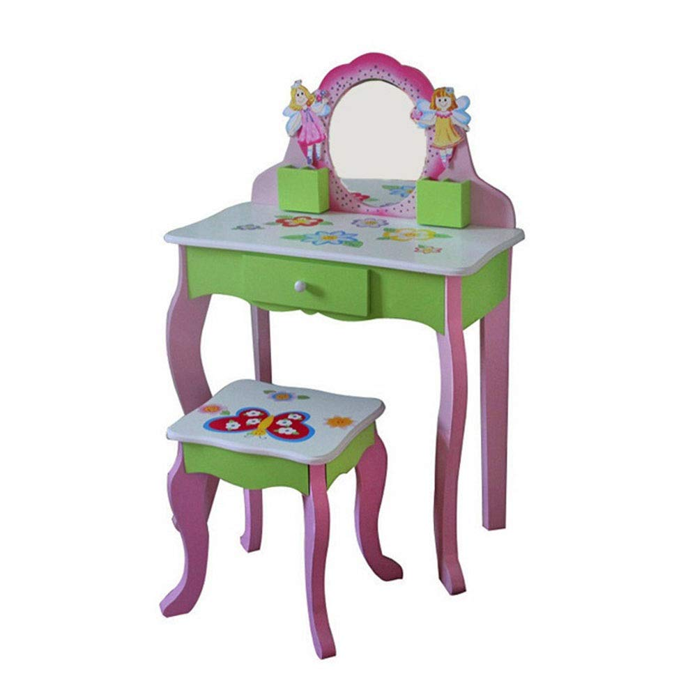 Girls Dressing Table Set Vanity and Stool - Children's Table and Chair Set with Mirrors and Make-Up Drawer Storage - Kids' Room Furniture (Color : Pink, Size : 88.53161cm)